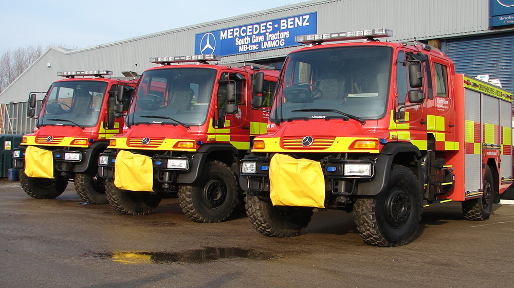 Derbyshire Fire an Rescue Unimog with Crewcabs
